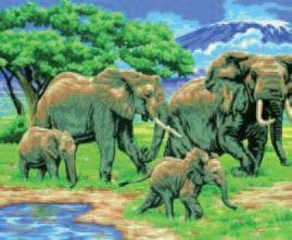Elephants Paint By Numbers | Hobbies Size 407mm x 305mm The Masterpiece Senior range of painting by numbers are for the more experienced artist. Contents: Pre-printed board, acrylic paints, brush and instruction sheet