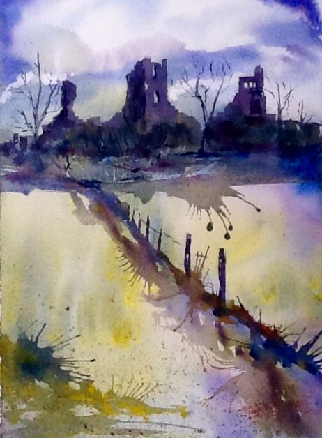 Sheriff Hutton Castel Watercolour painting by Jean Larcum