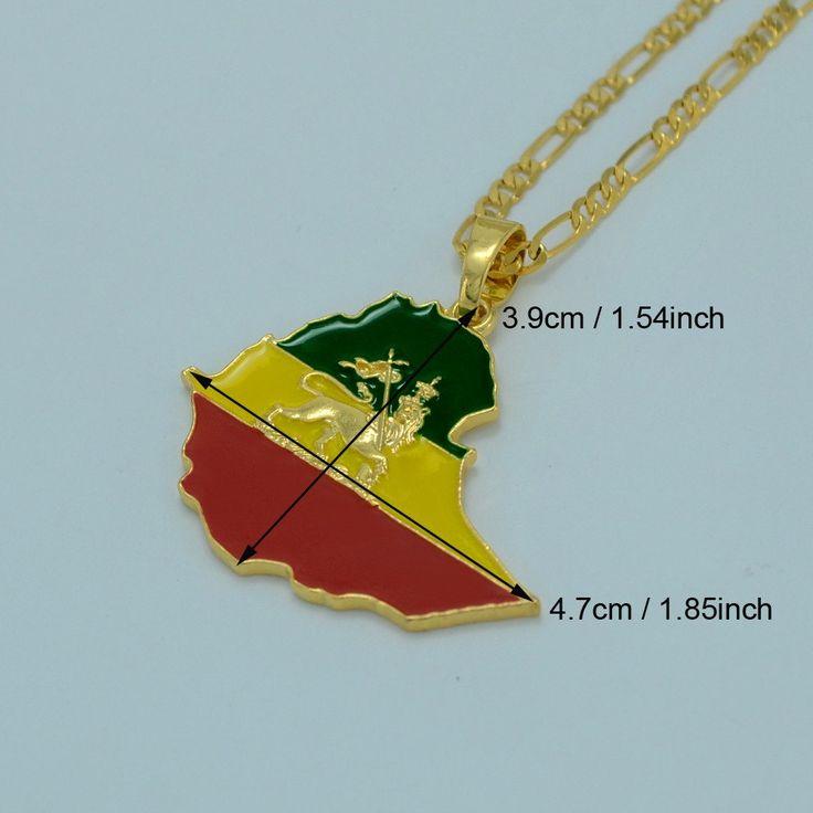 Gold Plated Ethiopian Flag, Lion & Map Pendant Necklace #008606