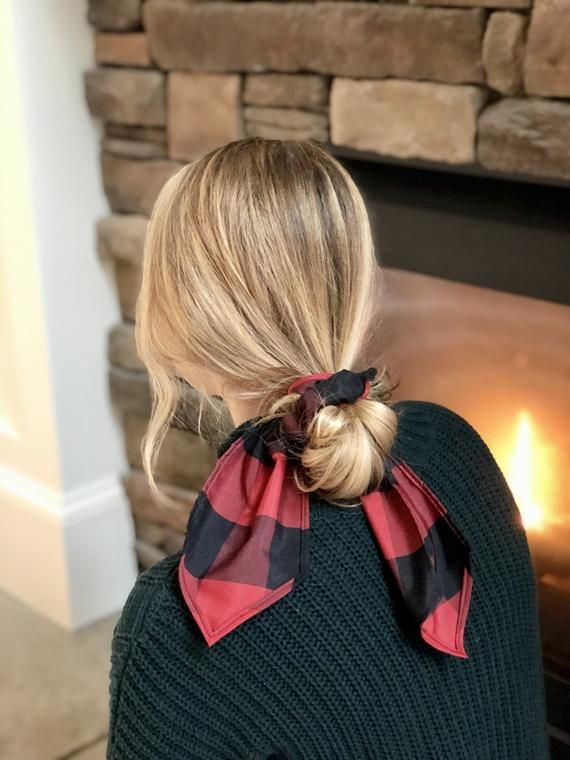 3 Braided Scrunchies Red Navy /& Black Cute Ponytail Girl/'s Hair Accessories