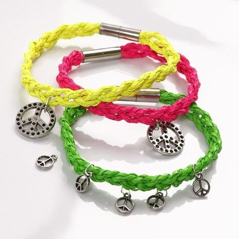 A Plaited Bracelet made from Neon-Coloured Plaited Cords