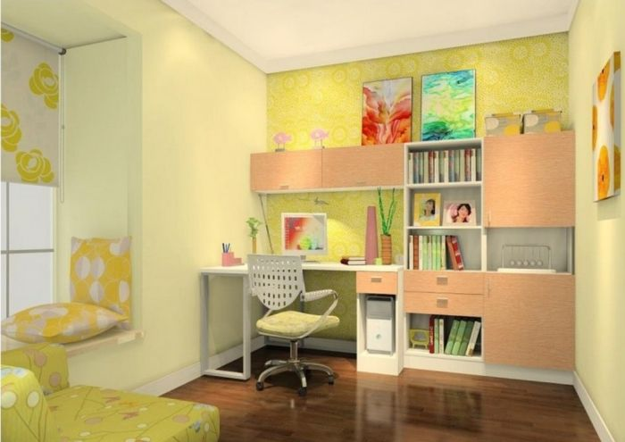 Relaxing Kids Study Room With Yellow Green Walls In 2019