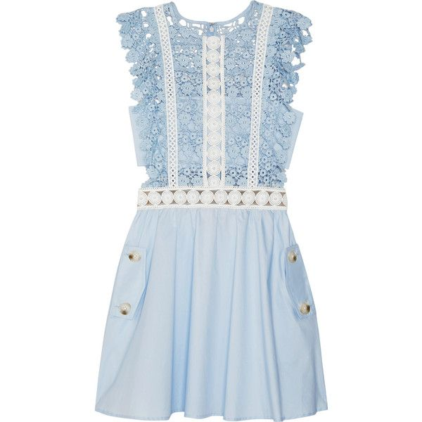 Self-Portrait Guipure lace and poplin mini dress ($335) ❤ liked on Polyvore featuring dresses, vestidos, self portrait dress, blue mini dress, short blue dress, floral print dress and floral printed dress