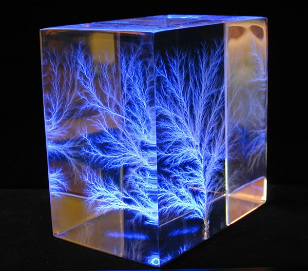 Lichtenberg figure in the acrylic cube