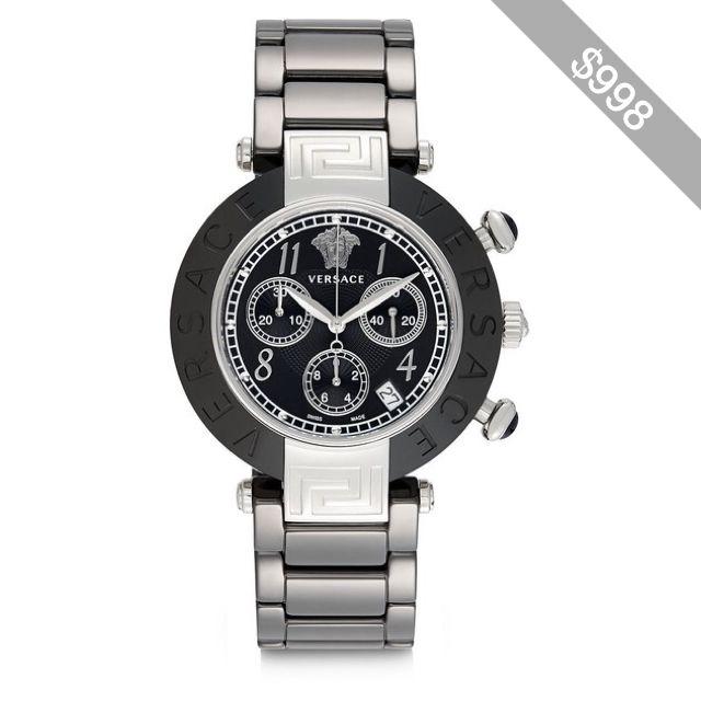 versace stainless steel ceramic link chronograph bracelet watch