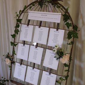 Vintage birdcage - table plan - seating plan - roses - ivy - wedding seating