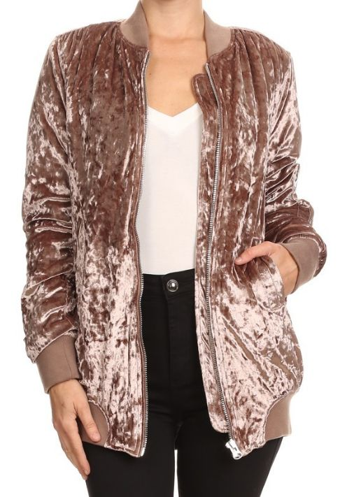 Blush Crushed Velvet Long Bomber Jacket - JAN, looove length on this, not the velvet as much! Prefer the fake suede/leather look but fit and cut on this one seems like it's a good cut for for me