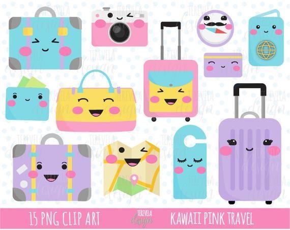kawaii TRAVEL clipart, clipart de equipaje rosa, imágenes ...