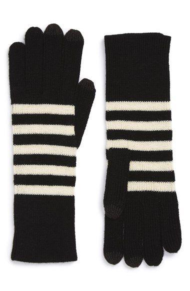 black and white stripe gloves