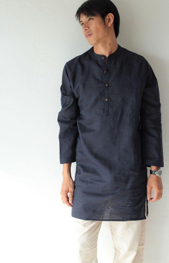 100% Linen djellaba style men's shirt (5701)