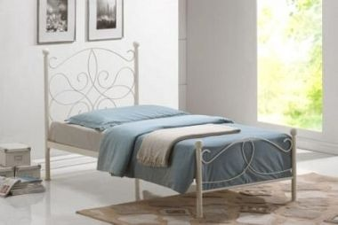 The Melissa single metal bed frame from Time Living is a uniquely styled frame finished in a ivory enamel http://www.bishopsbeds.co.uk/shop_categories/view/metal-beds