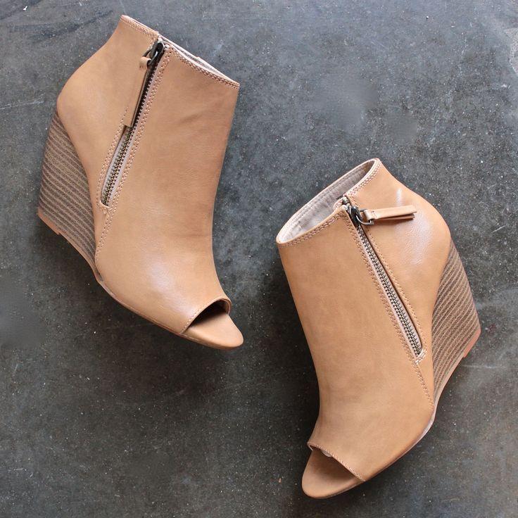 bc footwear rebellion peep toe wedge heel booties in taupe
