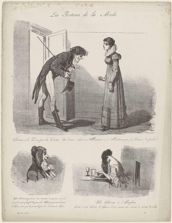 Cham   Les Tortures de la Mode, ca. 1848, No. 19 : Cheveux à la Titus..., Cham, c. 1848   Karikatuur van diverse kapsels. Boven: man in een deuropening buigt voor een vrouw met een kapsel 'à la Titus'. Volgens het onderschrift weet hij door het korte haar niet of hij haar met mevrouw of meneer moet aanspreken. Linksonder: mannen dragen het haar als  'Oreilles se Chien' (hondenoren?). Rechtsonder: vrouw waarvan het lange haar op haar bord hangt: 'cheveux à l'anglaise'.