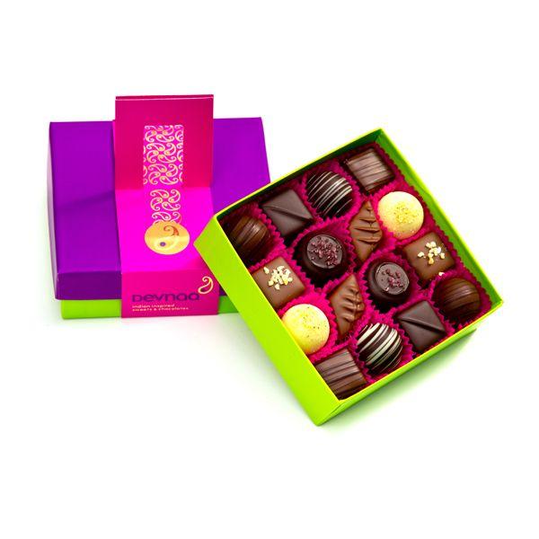 Inside box of Deevna Asian chocolates by www.fuschiadesigns.co.uk