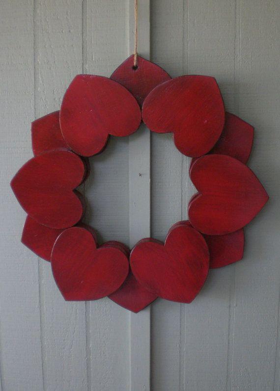 BIG Primitive Red Wooden Heart Wreath Indoor Outdoor Wood Hearts Ring 21 Inch Wedding Engagement Love Romance Wall Art Shower Centerpiece
