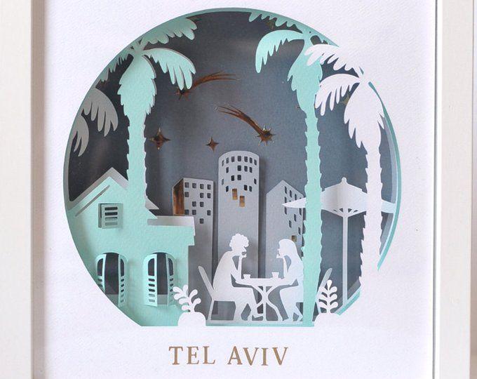 Jerusalem Art Modern Judaica Layered Paper Art Papercraft Etsy Origami Artesanato Ideias