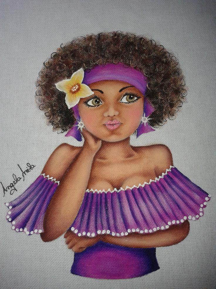 Boneca mulata brasileira namoradeira. Linda mulher negra. Projeto de Inês Paulino Lopes