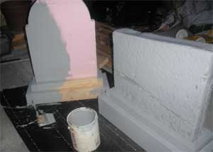 Inspiration:  sandwich cheap headstones between 2x4s with holes drilled for re-rods to stick in the ground for stability.  Quick and easy tombstones!    Remember to check out our halloween store http://deals.dreadcentral.com