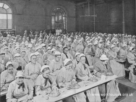 St Pancras workhouse dining hall, 1897.