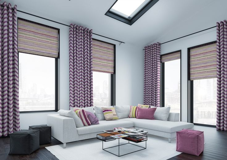Echo Mauve roman blinds and Sonic Blackcurrant curtains from Style Studio. 2018 home interiors trends. Herringbone home decor inspiration. Purple roman blinds. Purple curtains. Patterned curtains. Chevron design home decor ideas. Living room curtains. Living room blinds. Contemporary take on traditional pattern. Intense colour trend for home decor. Contemporary purple colour inspiration for the home. Futuristic colour combinations.