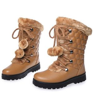 Chic Women's Lady Fur Lined Cotton Shoes Tassel Snow Mid-calf Boots Stylish New
