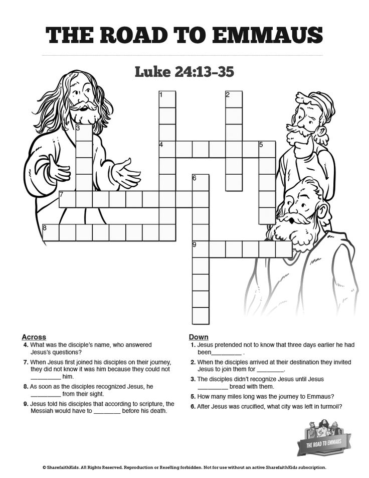 Luke 24 Road to Emmaus Sunday School Crossword Puzzles: Both fun for kids and a great learning tool, this Road to Emmaus crossword encourages your children to search the story of Luke 24:13-35. Packed with fun this Road to Emmaus activity is perfect for you upcoming Luke 24 Sunday school lesson.