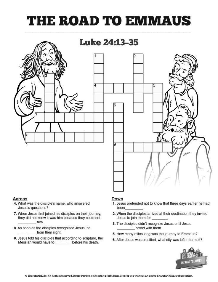 Luke 24 Road to Emmaus Sunday School Crossword Puzzles