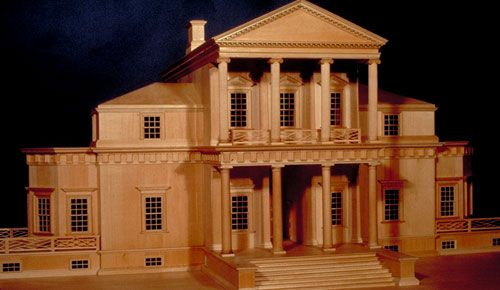 Modern model of the first monticello on view at the for Monticello house plans