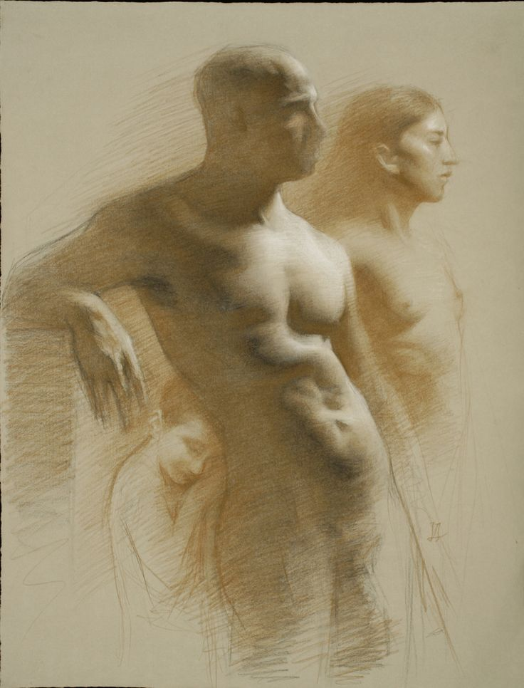 """Juliette Aristides - Family - 24""""x 18"""" - Charcoal and sepia on toned paper"""