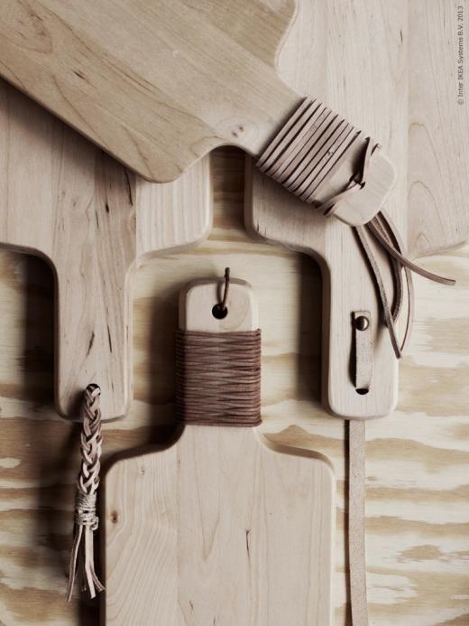 DIY leather chopping board handle
