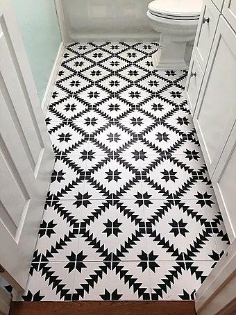 Painted Floor   Stenciled Bathroom Tiles   Maestro Tile Stencil   Cutting Edge Stencils #stencils #paintedfloor #stenciled #diy #bathroom #budgetfriendly #makeover