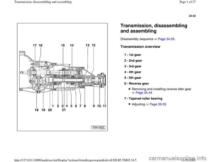 AUDI A4 1997 B5 / 1.G 01A Transmission Assembly Workshop