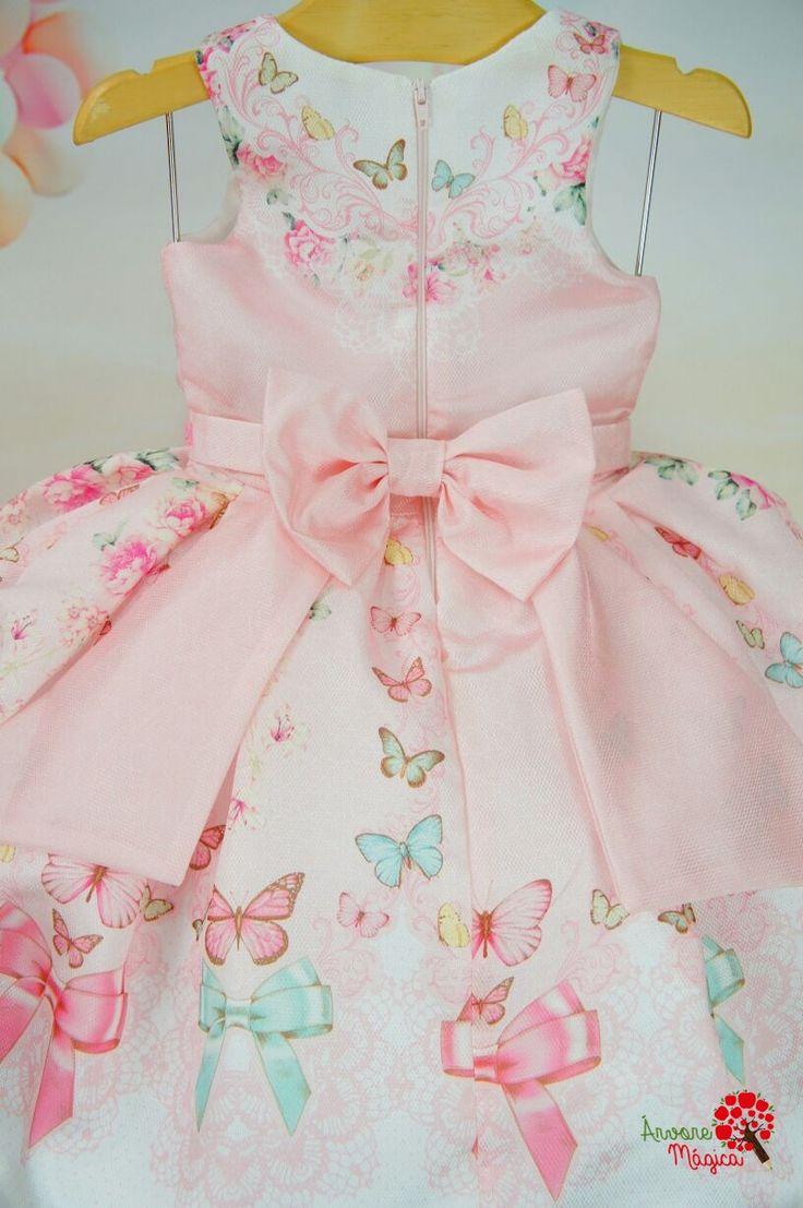 Vestido Infantil de Festa Borboletas Rosa Petit Cherie
