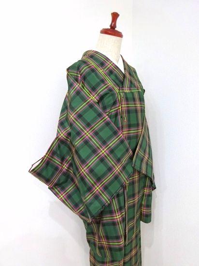 ■ガールズ■良品!!ビリヤードグリーン*チェック♪縞大島アンサンブル 正絹袷 裄67丈163ロング - アンティーク着物や現代着物なら雅星本店