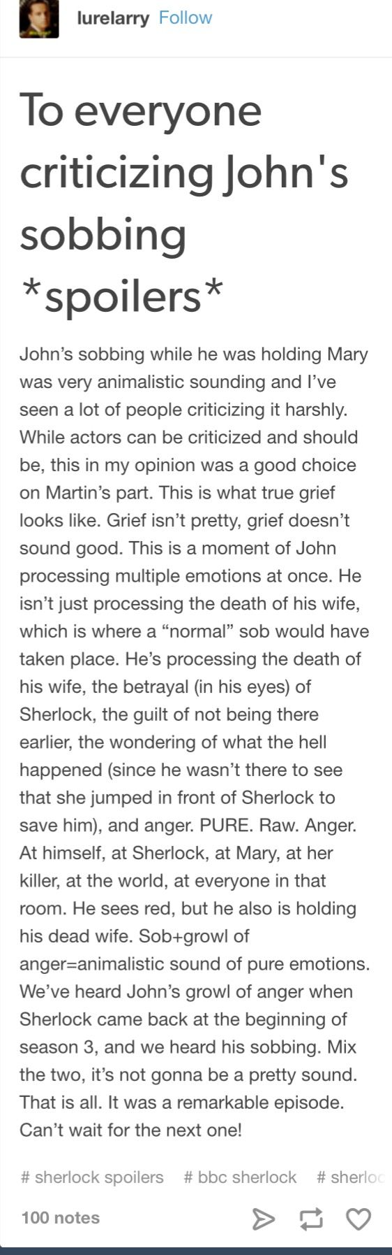 SEASON 4 SPOILERS   I completely agree and at first I wasn't actually sure if it was John or my dog making the sound at the time. But after realising I think it is honestly the best choice of acting for what had just happened.