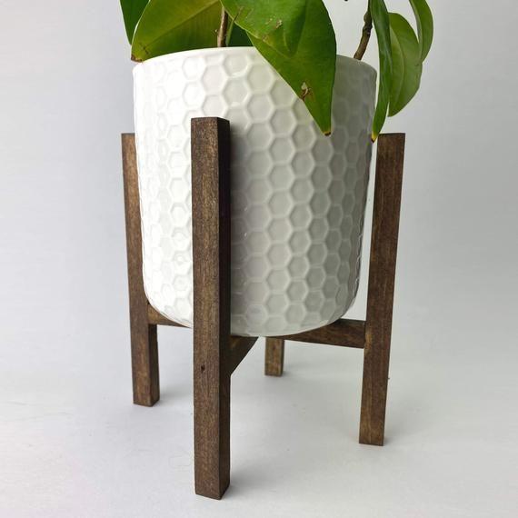 Reclaimed Wood Mid Century Style Plant Stand Mediados De Siglo Ideas De Maceta De Madera