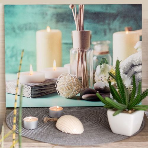 dekoratives led bild leinwandbild wellness spa an aus. Black Bedroom Furniture Sets. Home Design Ideas