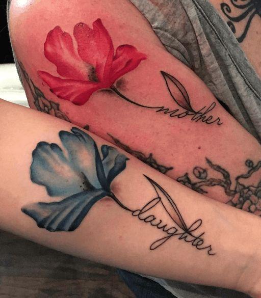 tatouage mere fille coquelicot