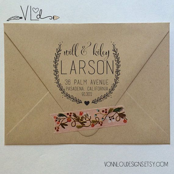 return address stamp  no. 20  custom rubber by VonnLouDESIGNS $30 I like the washi tape on here, super cute!