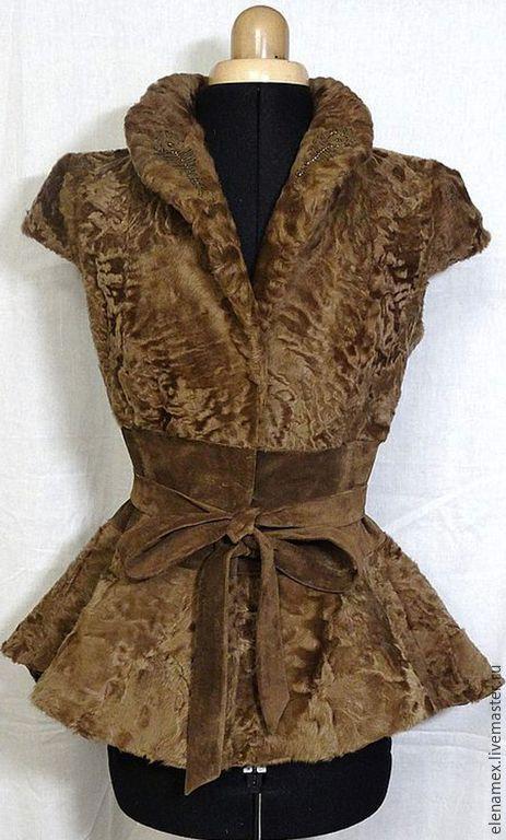 Купить Жакет из каракульчи c баской - бежевый, меховой жакет, женский жакет, для девушки для женщины