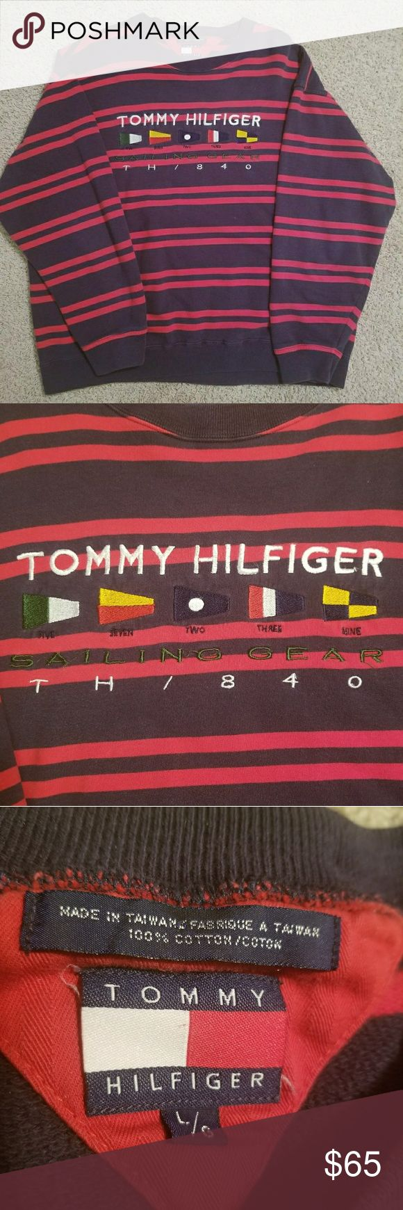 Vintage Tommy Hilfiger Sailing Gear Spell out crew RARE vintage Tommy Hilfiger Sailing Gear crewneck sweatshirt. Big logo spell out! These are really hard to come by, and now it's your chance to own one! Sz Large   Don't sleep on this one, will sell fast. It's cross posted Tommy Hilfiger Sweaters Crewneck