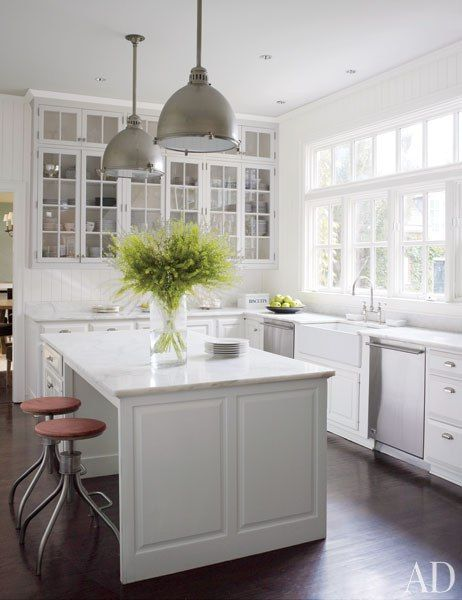 all white kitchen; 9 ft ceilings with cabinets to the top; wall of windows; industrial pendant lighting (obviously this is taking place in my dreams)