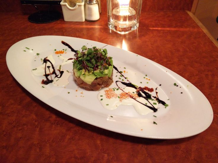 Ring of Soya Marinated Albacore Tuna with Fresh Avocado, Wasabi Mayo, Flying Fish Roe & Garnished with Micro Greens is one of your choices of appetizer in the 3 course menu offer at #WestwardHo! @UGC in #Vancouver.
