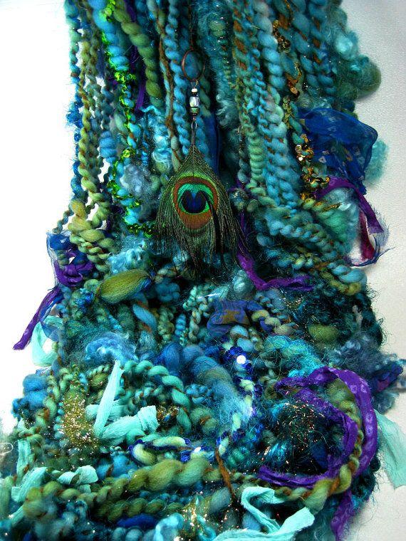 Peacock Strut Super Bulky Art Yarn for weaving door yarnwench
