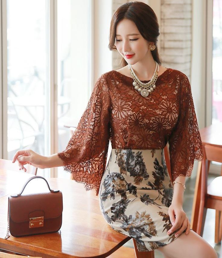 StyleOnme_See-through Floral Lace Wide Sleeve Blouse #florallace #blouse…