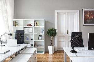 Captivating Home Office: Light Grey Walls, White Shelves, White Desk, As Much White As  Possible With The Occasional Black TV And Grey Couch. Matches The IMac U2026