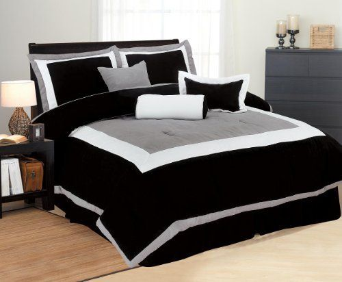 Queen Size Bedding 7 Pieces Solid Black, Grey, And White Polysilk Comforter  Set