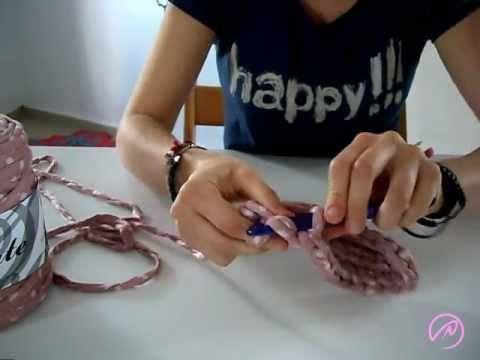 ▶ Bases de bolso con cinta Sacocharte - ganchillo xxl con trapillo - YouTube