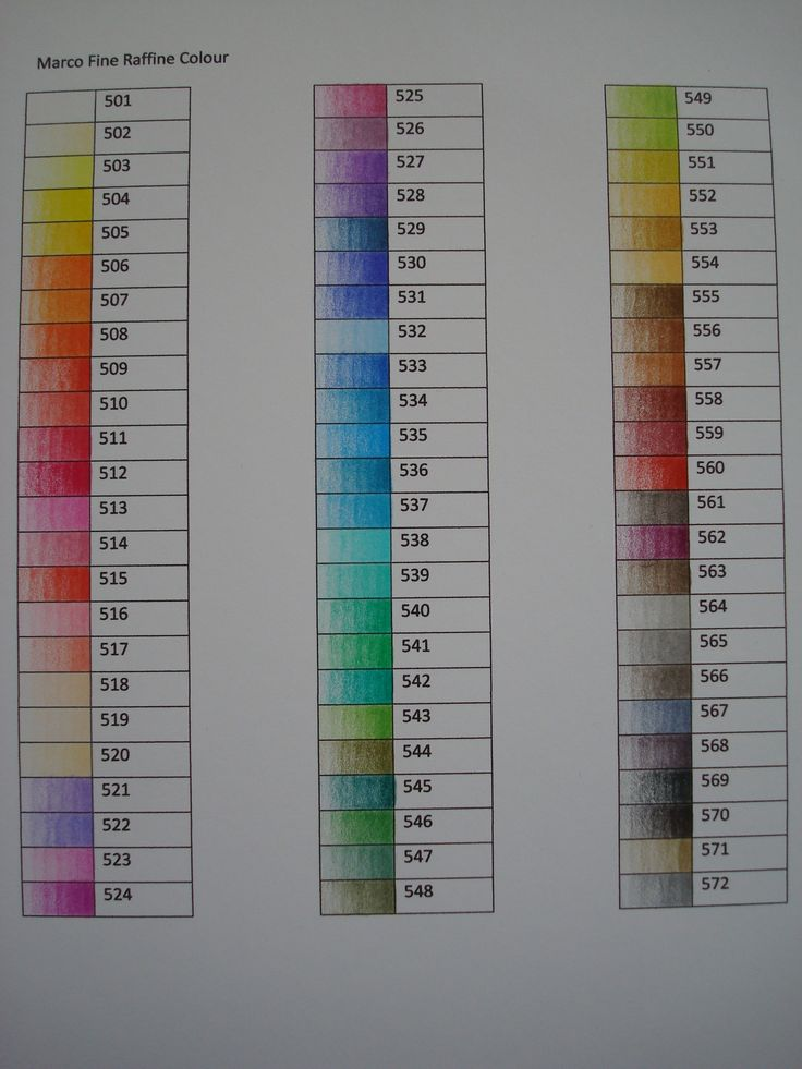 Colour Chart Marco Fine Pencils Fine Art Colour Chart