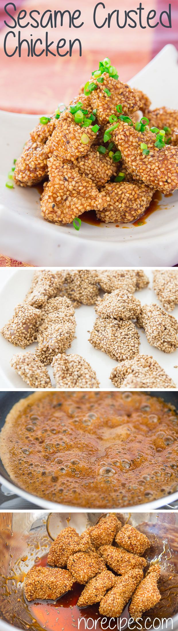 A coating of crunchy sesame seeds gives this Gluten Free SESAME CHICKEN a marvelous crunch and rich nutty flavor. (gf soy)
